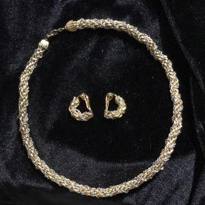 Silver & gold-toned necklace & matching clip-ons